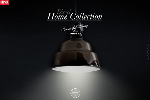 Website Diesel Home Collection thiết kế non-navigation