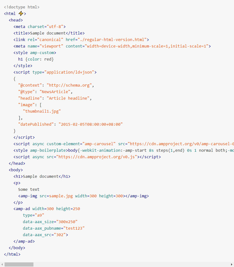 The AMP HTML format Sample: