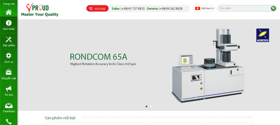Giao diện website công ty V-Vproud