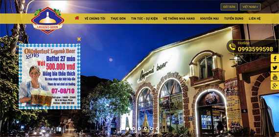 Giao diện website Legend beer Brewhouse