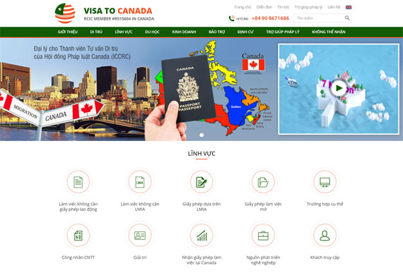 Giao diện website Visa To Canada thiết kế tại ADC