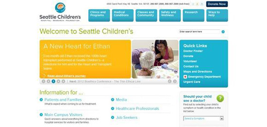 Website bệnh viện nhi Seattle Children's hospital - Seattlechildrens.org